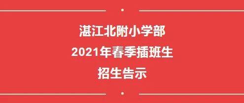 湛江北附:小学部2021年春季插班生招生告示